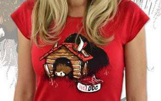 Bulldog červené dámské tričko