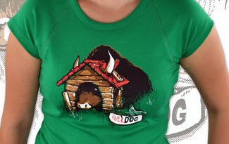 Bulldog zelené dámské tričko
